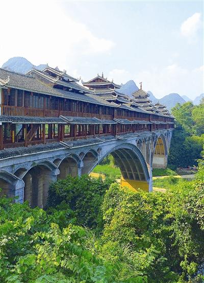 宜州刘三姐乡下枧河上的歌仙风雨桥