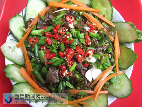 乐业特色名菜――青瓜凉拌香椿