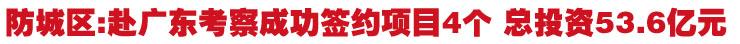 防城区]赴广东考察成功签约项目4个 总投资53.6亿元