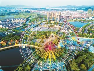 浙江东阳市花园村建五彩摩天轮高88米