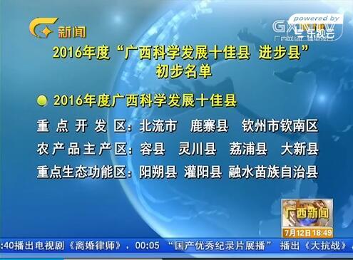 """2016年度""""广西科学发展十佳县、进步县""""初步名单公示"""