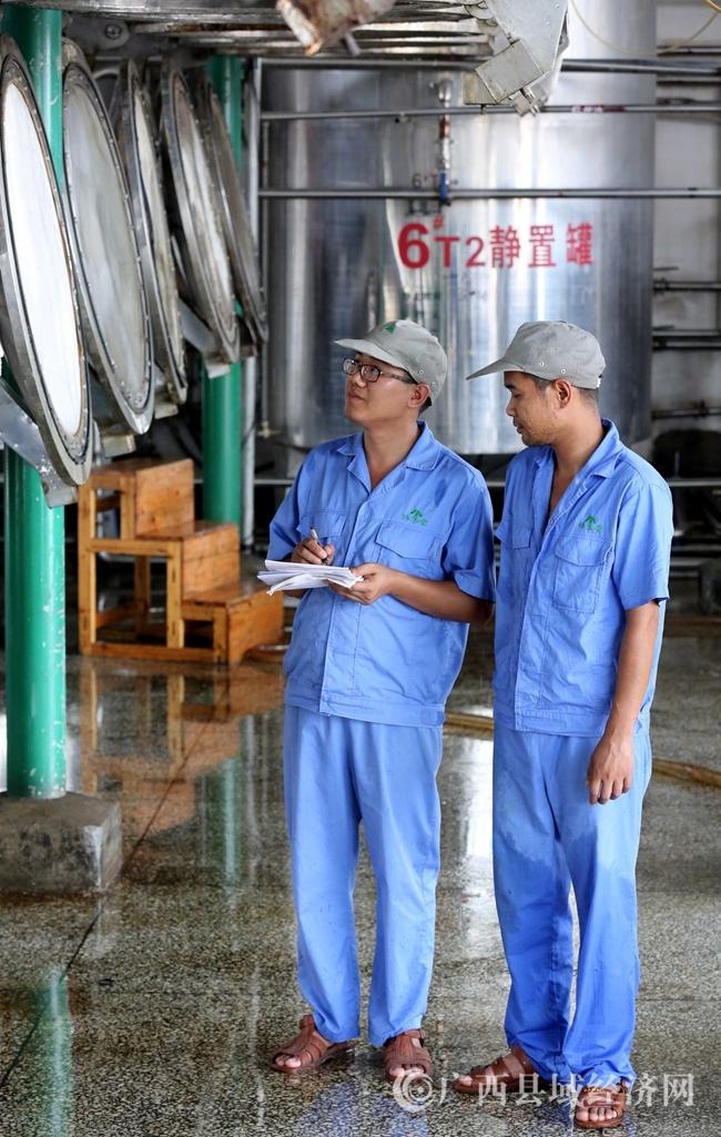 图4:7月26日,广西仙草堂制药有限责任公司工人在青蒿素提炼车间检查保养设备。(谭凯兴 摄)