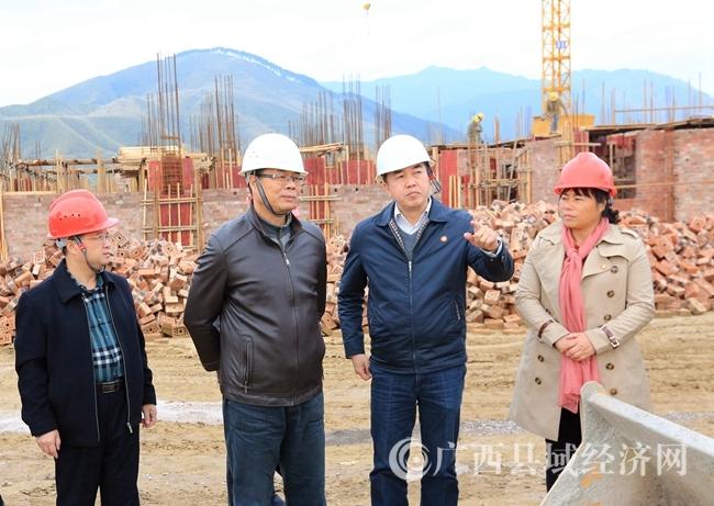 图1:11月22日,在融安县融城安置点,市委副书记梁旭辉(左二)、融安县委书记陈宏(右二)等领导在查看工程建设进度。(谭