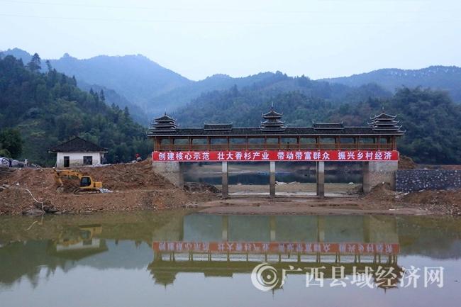 """图7:11月29日,拍摄的广西柳州市融安县""""林海杉源""""香杉生态产业核心示范区内风雨桥。(谭凯兴 摄)"""