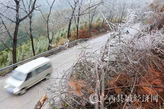 图7:1月27日,一辆客车经过国道357线广西柳州市融安县泗顶镇结冰路段。(谭凯兴 摄)