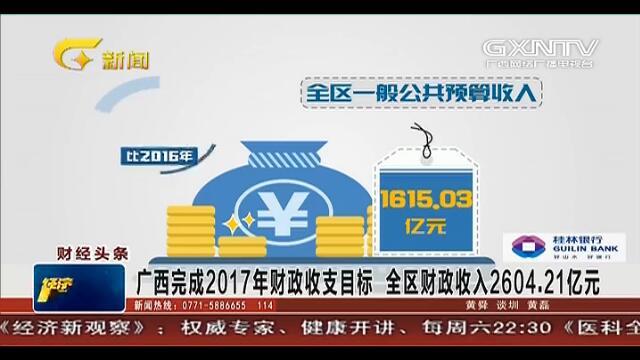 广西完成2017年财政收支目标 全区财政收入2604.21亿元