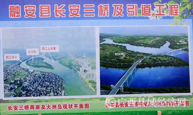 图5:3月5日,拍摄的融安县长安三桥工程效果图板报。(谭凯兴 摄)