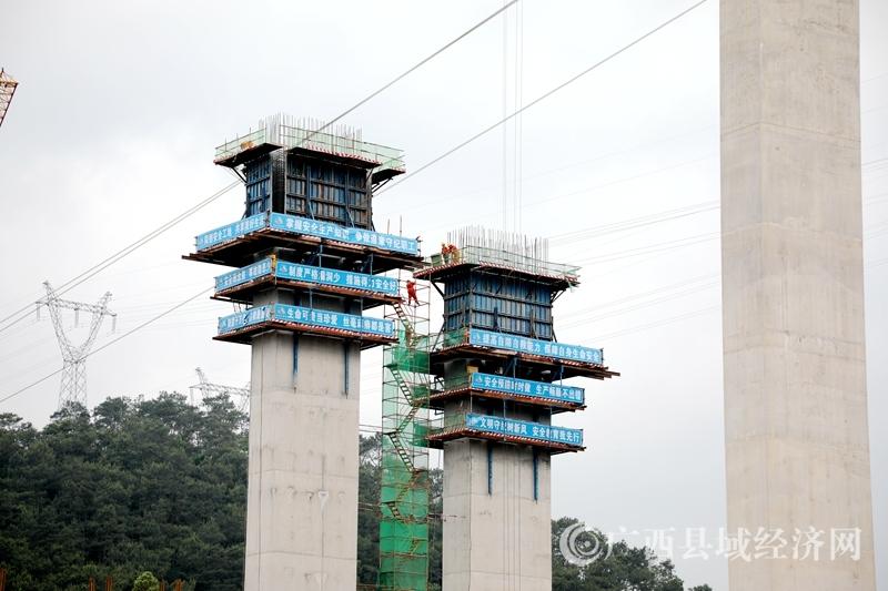 蒙山县:贺巴高速公路蒙山段茶山水库大桥加紧施工