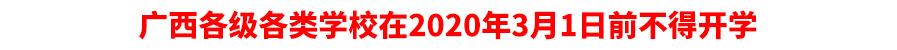 广西各级各类学校在2020年3月1日前不得开学